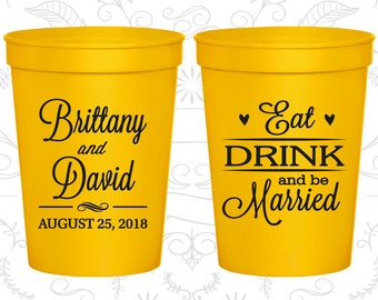 Eat Drink and Be Married Cups, Party Cups, Hearts, Plastic Cups (30)