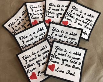 Set of 8 Memory Pillow Patches - SEW ON - 4 Inch Square, 15 Patch Colors, Memory Patches, This is a shirt, In Memory Of, Memory Patch