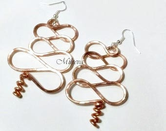 Rose Gold Abstract Wire Earrings