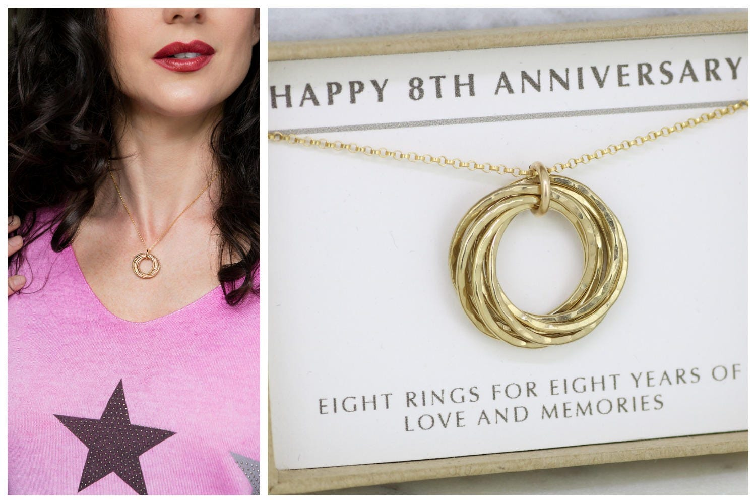 8th Anniversary Gift For Wife 8 Year Anniversary Necklace For Her Handmade Gift For Her