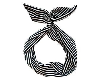 Black and White Stripe Wire Headband