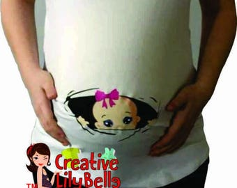 funny maternity shirt peek a boo - funny maternity clothes - pregnancy shirt - cm166