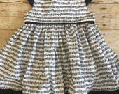 Music note dress for baby, toddler, girls - recital dress - musical - flutter sleeve dress