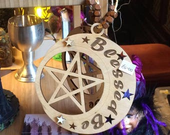 Blessed Be Pentacle Hanger Stars Pagan Wiccan
