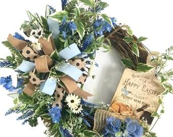 Easter Wreath for Front Door, Easter Wreath, Easter Front Porch Wreath, Easter Decoration, Easter Bunny Wreath for Door, Spring Door Wreath