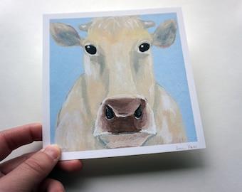 "Light Brown Cow Print, 5.5x5.5"" Cow Print by Amber Maki"