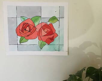 Original watercolor based on a Modernist window Gaudi mordernism wall art deco Roses