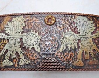 """Large AZTEC Inca Silver Mixed Metals 5"""" BELT BUCKLE Warriors 64 Grams"""