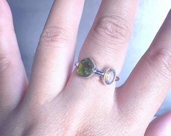 Raw peridot ring, rough peridot, peridot ring, welo opal ring, peridot opal ring, raw gemstone ring, raw gemstone jewelry, ooak, unique ring