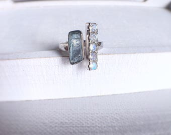Raw aquamarine ring, moonstone ring, ooak ring, raw crystal ring, raw gemstone jewelry, gift for her, aquamarine ring, gemstone silver ring