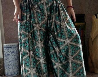 Teal Reptile Print Silky Fabric Pantaloons