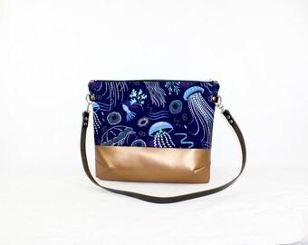 Jellyfish copper cross body bag with leather handle, ladies handbag, handbag, shoulder bag, Tote, ladies bag