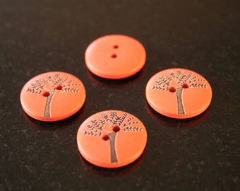 """10 """"tree"""" wooden buttons. (ref:2841)."""