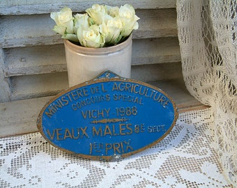 French vintage blue wall sign. Award plaque. Royal blue. French country. Jeanne d'arc living. Agricultural prize. Rustic farmhouse decor