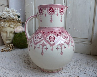 Antique french red transferware large washing pitcher. Red transferware vase. French country. Rustic vintage farmhouse. French Nordic decor