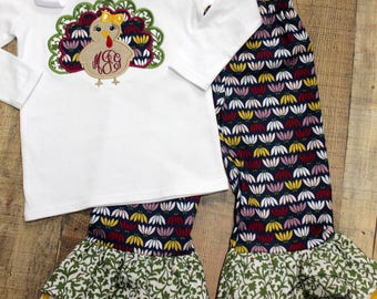 Thanksgiving Turkey shirt with ruffle pant OUTFIT