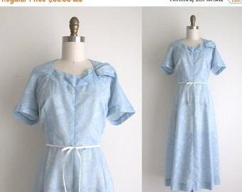 "SALE 40% OFF 1950s Dress / Vintage 1950s Dress / Blue Polyester Day Dress 29.5"" Waist"