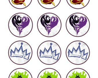 Disney Descendants icons and logos party decoration edible cupcake images cupcake toppers