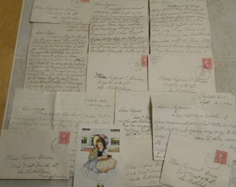 6 Antique Handwritten Letters -  Vintage Handwriting Paper Epherema Pack - Paper Tag Supply