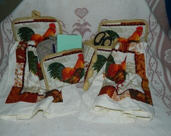 cute kitchen rooster towel set