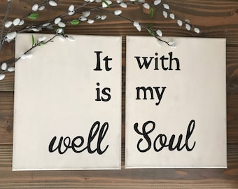 "Two Piece 11"" x14"" Hand Painted Canvas ""It is well with my Soul""; hymn; gallery wall; art; canvas; it is well with my soul"