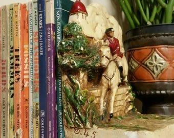 Vintage Equestrian Bookshelf Bookend, Fox Hunter Horseback Rider Book End, 1945 Plaster Chalkware