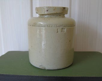 Antique Stoneware Glazed Caviar Jar - Skey Tamworth - Vase - Crock - Kitchenalia - Rustic Display