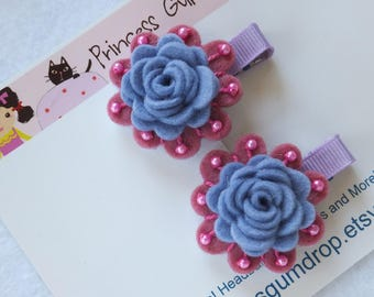 Purple Felt Rose Hairclips for Girls, Beaded Flower Hairclips for Toddlers and Babies
