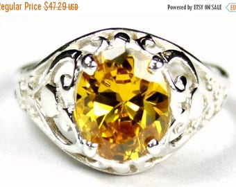 On Sale, 30% Off, Golden Yellow CZ, 925 Sterling Silver Ring, SR004
