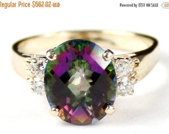 On Sale, 30% Off, Mystic Fire Topaz, 14K Yellow Gold Ring, R123