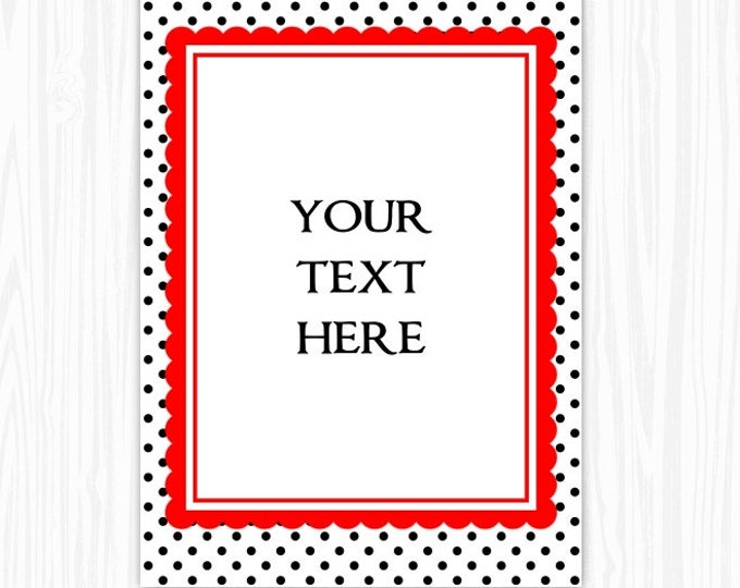 5x7 Polka Dot and Red BLANK Sign, Printable Sign or Invite, Birthday or Shower, Editable Sign or Invitation, INSTANT Download