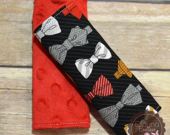Car Seat Strap Covers - Bowties, Red, Gray, Brown, Black