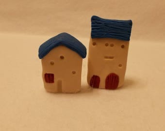 Use These 2 Rustic Miniature Houses As A Shelf, Cabinet, Window Sill Sitter, Fairy House, or Fairy Garden