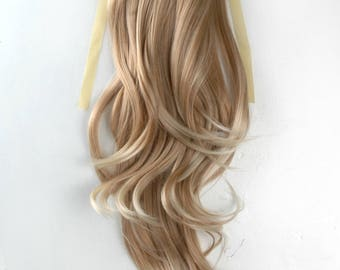 Beige Mix Long Wavy clip on Ponytail hair extension Cosplay Custome Party Carnival Cheerleader x 1 piece New Halloween