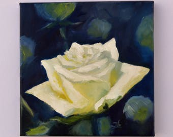 Small Oil Painting. Flowers Painting. Flowers art. Wall art. Canvas painting. Rose painting. Daily Painting. Gift for her.