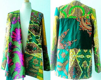 African blazer Green women jacket Kira Ankara blazer jacket in mixed African prints by Sosome
