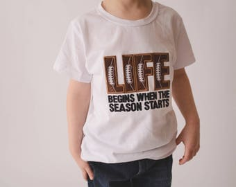 Boys Life Football Shirt in Sizes 3 Months to XLT – Bodysuit or Shirt with Football Leg Warmers