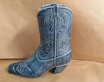 Cowboy Boot Hand-Painted with Blue Denim Glaze, Western Decor, Planter, Texas Made