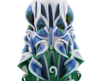 Carved Candle Green, blue and white Free shipping