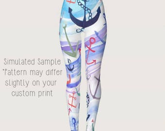 Watercolor Anchor Leggings, Yoga Pants, spouse, wife, girlfriend, ship, boat, military, Refuse to Sink, Nautical, Sailor, Navy XS-XL-Anchor3