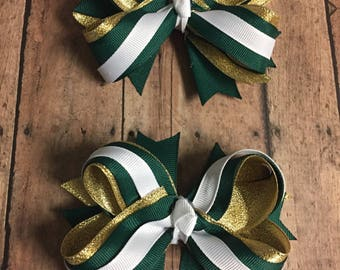 Hunter Green Bows, Uniforms Colors, Back to School Bows, Pigtail Bows, Green, Gold, Fast Shipping