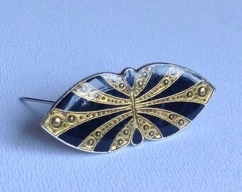 Pierre Bex Brooch - Art Deco Style Black Enamel - Gifts for Her - Christmas Gifts