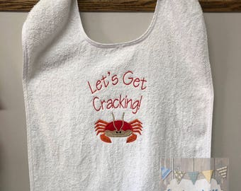 Crab Bib Crab Feed Crawfish Bib Adult Bib Seafood Bib Lobster Bib BBQ Bib Crabs Clothing Protector Crab Dinner Bib Crab Feed