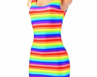 Horizontal Stripe Rainbow Print Lycra Spandex Bodycon Clubwear Tank Dress Festival Rave Party Gay Pride Parade - 154603