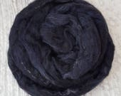 Silk Sliver 'Raven' 50grams Soft, Luxurious, Pulled/Carded Black/coloured fleck Recycled Sari Silk Fibre for Spinning, Felting, Weaving etc