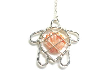 Sterling silver Hawaiian sunrise shell necklace