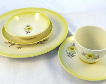 Homer Laughlin Duratone Buttercup Set , Service for 6 plus Platter, Vintage China Set, 31 Pieces, 1963 or Before