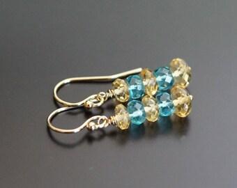 Citrine earrings, apatite earrings, citrine jewelry gift, apatite jewelry, multi gemstone earrings, citrine apatite, gold fill ear wires