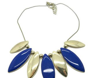 ON SALE! Blue and Gold Bib Necklace Vintage Cobra Chain Rolling Discs Necklace