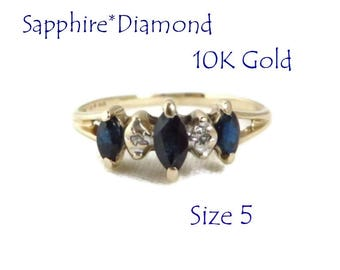 10K Gold Ring - Sapphire & Diamond Ring,  Vintage Estate Wedding, Anniversary Ring, Perfect Gift, Size 5, Gift Box, FREE SHIPPING